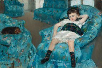 Mary Cassatt little girl in a blue armchair